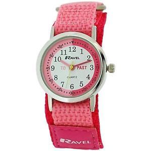 【送料無料】ravel time teacher kids girls pink easy fasten strap watch r150754
