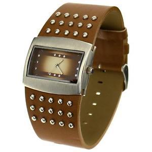 【送料無料】the olivia collection ladies brown wide studded strap fashion watch nl05365