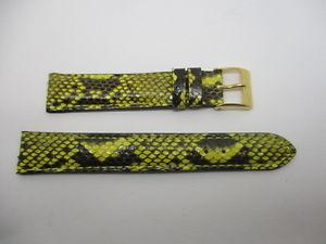 【送料無料】bracelet montre en python vritable jaune et noir 16 mm