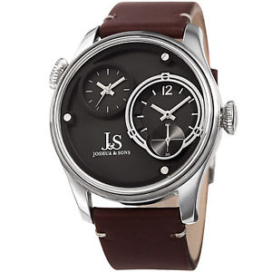 【送料無料】mens joshua amp; sons jx118ss two time zones small seconds leather strap watch