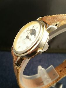 vintage edison quartz moon phase watch