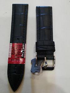 【送料無料】cinturino per orologio in pelle blu stampa coccodrillo 22mm , nuovo