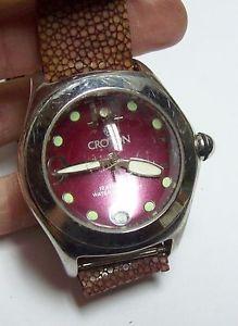【送料無料】vintage croton raspberry colored dome watch