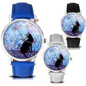 【送料無料】ladies women girls fashion cartoon cat pattern analog gift for her wrist watch