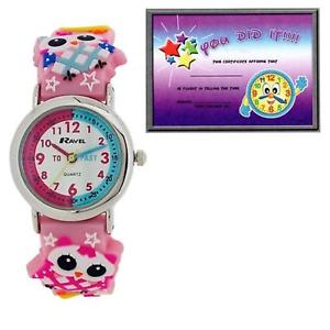 【送料無料】ravel time teacher 3d owl pink rubber strap watch telling time award r151374