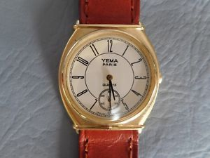 【送料無料】yema petite seconde montre bracelet cuir marron pl or tonneau femme woman watch