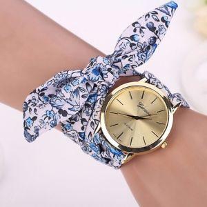 【送料無料】beautiful blue floral strap quartz gold watch by geneva