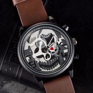 【送料無料】orologio da polso uomo quarzo data skull design y007 casual cinturino marron lac