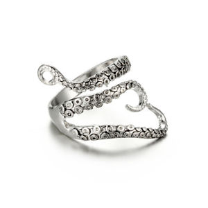 【送料無料】punk antique silver ring octopus tentacles opening adjustable finger rings for w