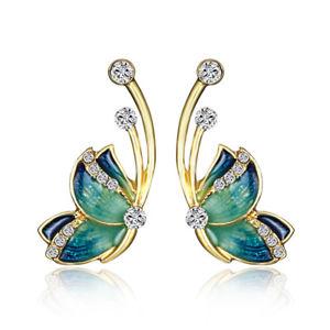 【送料無料】luxury butterfly gold earring sweet ceramic rhinestones crystal ear stud gift fo