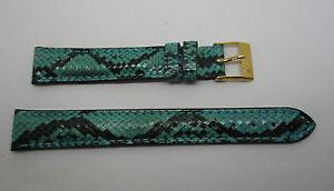 【送料無料】bracelet montre en python veritable bleuvert et noir taille 14 mm