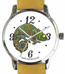 【送料無料】save our wildlifechameleon image watch has yellow strap and donation to awf