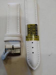 【送料無料】cinturino per orologio in pelle bianco liscio 20mm , nuovo