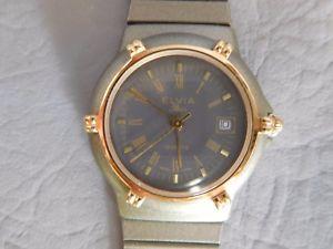 【送料無料】elvia montre bracelet ancienne metal bicolore gris dor nautic femme women watch