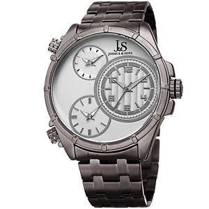 【送料無料】mens joshua amp; sons jx128gn triple time zone stainless steel bracelet watch