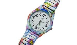 【送料無料】ds orologio da polso bracciale ragazzo ragazza moda elastico fantasia fiori lac