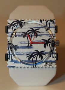 【送料無料】stamps zifferblatt palm beach 104333 belta y white stamps
