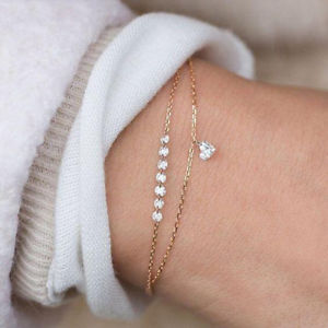 【送料無料】trendy heart crystal charm bracelet multilayer bridal wedding crystal bracelets