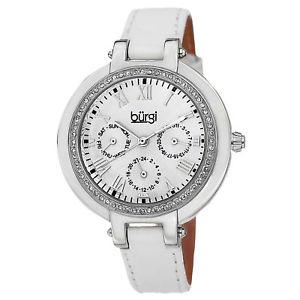 【送料無料】 womens burgi bur085ssw multifunction crystal bezel white leather strap wat