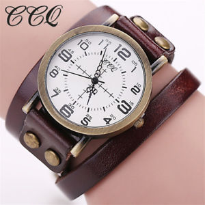 【送料無料】ccq vintage cow leather bracelet wristwatch luxury casual women quartz watch