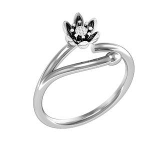 【送料無料】fashion platinum plated silver ring ethnic lotus flower opening adjustable finge