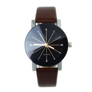 ladies quartz wrist watch with leather strap