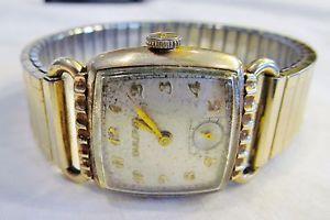【送料無料】genuine 1950 art deco mens bulova 10bc director 15j wrist watch 10k rolled gold