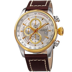 【送料無料】mens akribos xxiv ak915yg chronograph brown leather with white stitching watch
