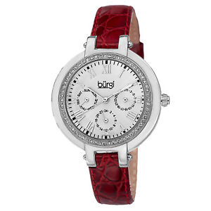 【送料無料】womens burgi bur085bur quartz crystal bezel multifunction leather strap watch
