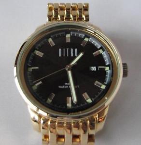 【送料無料】nitro quartz date watch with gold tone bracelet