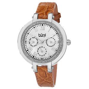 【送料無料】 womens burgi bur085or multifunction crystal bezel brown leather strap watch