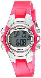 【送料無料】womens marathon by timex pink silver digital midsize sport watch t5k808 nwot