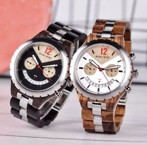 bobo bird natural handmade round gents men's luxury wooden wristwatch gift