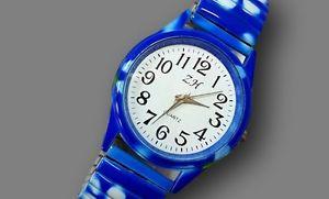 【送料無料】ds orologio polso bracciale ragazzo ragazza moda elastico fantasia fiori blu lac
