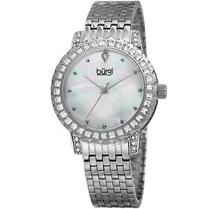 womens burgi bur176ss thirty six crystals bezel mother of pearl bracelet watch