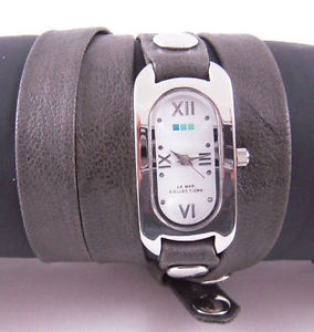 【送料無料】la mer watch grey washed silver case soho wrap
