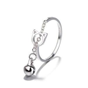 【送料無料】fashion platinum plated silver ring cat bell opening adjustable finger rings for