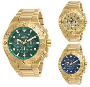 【送料無料】invicta mens pro diver quartz chrono 100m gold tone stainless steel watch