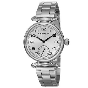 【送料無料】womens akribos xxiv ak806ss classic quartz silvertone stainless steel watch