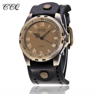 【送料無料】ccq vintage reloj hombre cow leather men wristwatch casual luxury roman numb
