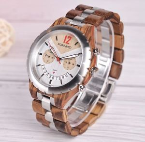 【送料無料】bobo bird natural handmade round gents men's luxury wooden wristwatch gift