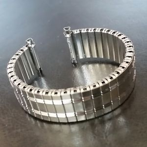 mens stainless steel silver watch straps bracelets flexi expanding 1620mm strap