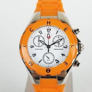 【送料無料】michele womens tahitian jelly bean orange chronograph watch