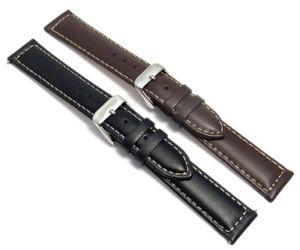 【送料無料】mens smooth contrast stitched padded leather watch strap 16mm 18mm 20mm c030