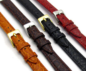 【送料無料】croc grain leather watch strap ladies size 8mm 14mm choose your colour d033
