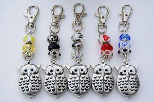 【送料無料】pretty owl fob watch on beaded key bag chain