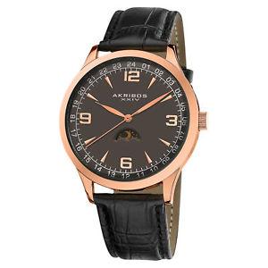 【送料無料】mens akribos xxiv ak637rg swiss quartz moon phase leather watch