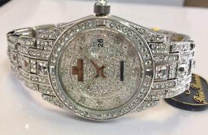 【送料無料】jewelry watch with swarovski crystals with box g3777