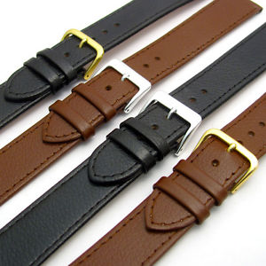 【送料無料】comfortable flexible extra long leather watch strap buffalo grain 16mm 22mm