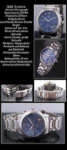 【送料無料】qamp;q herrenchronograph edelstahl deutlich lesbar azurblaues zifferblatt neu